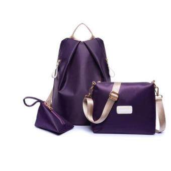 Bingo Fashion 3-psc Backpack Waterproof Nylon Oxford Bags - Backpack / Shoulder Bag / Small Bag(Purple)