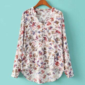 ยาวแขนเสื้อแฟชั่นสตรีไซเบอร์หลวมลำลองเสื้อลายดอกเสื้อ (ขาว) (ในประเทศ)