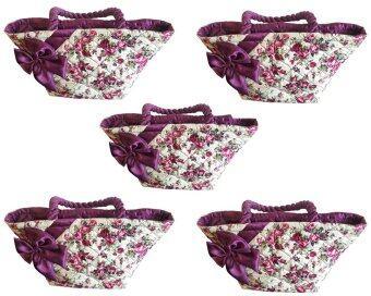 กระเป๋าผ้าลายดอกไม้ มีโบว์คาด สีม่วง 5 ใบ