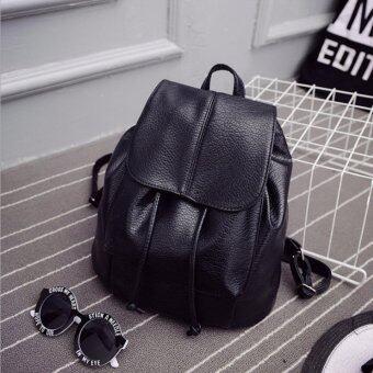 LIE กระเป๋าเป้สะพายหลัง ผู้หญิง กระเป๋าเป้เกาหลี กระเป๋าเป้หนัง รุ่น ST-12676 (สีดำ)