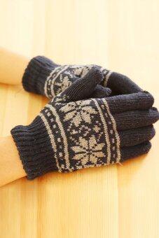 เพศชาย/หญิงถักถุงมือผ้าขนสัตว์อุ่นหนาวมือสวมถุงมือถุงมือปุยสีเทา