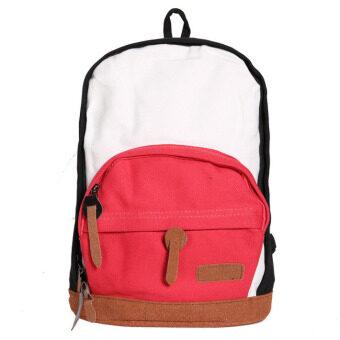 กระเป๋าสะพายหลังสามสี colorful สีแดง