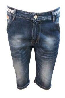 EAY กางเกงขาสั้นยีนส์ผ้ายืดshort802blสียีนส์ฟอก