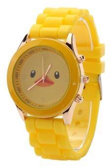 Bluelans หญิงเป็ดสีเหลืองนาฬิการัดซิลิโคนเจล