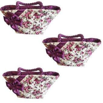 กระเป๋าผ้าลายดอกไม้ มีโบว์คาด สีม่วง 3 ใบ