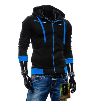 ใหญ่ขนาดบุรุษเหงื่อเสื้อแจ็คเก็ตเสื้อกีฬาซิปสีดำ