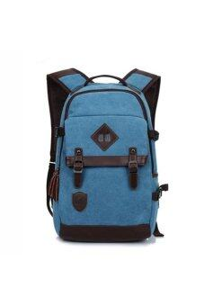Retro Style Unisex Men's Women's Canvas Travel Backpack Rucksack Double-Shoulder Bag School Bag Blue