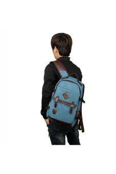 Retro Style Unisex Men's Women's Canvas Travel Backpack Rucksack Double-Shoulder Bag School Bag Blue (image 1)