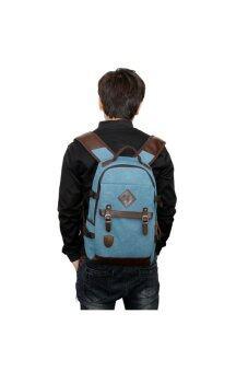 Retro Style Unisex Men's Women's Canvas Travel Backpack Rucksack Double-Shoulder Bag School Bag Blue (image 2)
