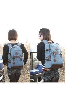 Retro Style Unisex Men's Women's Canvas Travel Backpack Rucksack Double-Shoulder Bag School Bag Blue (image 3)
