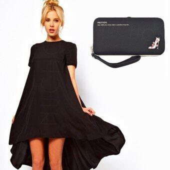 Nuchon Bag กระเป๋าสตางค์ ใส่มือถือ Smart Wallet Iphone 6 Plus Size L (Black)
