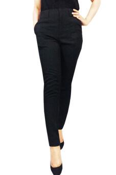 กางเกงขายาว ซิปหน้า ผ้าอยู่ทรง (สีดำ)
