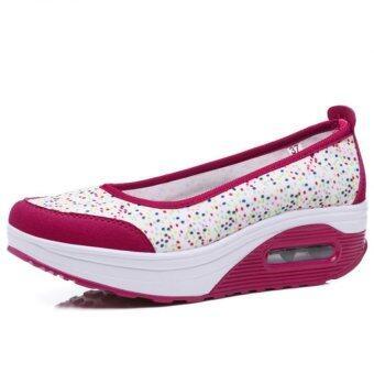 YINGLUNQISHI ผู้หญิงแบน Loafers Fahion รองเท้ากีฬาเข้าไปรองเท้าผ้าใบ (สีแดง)