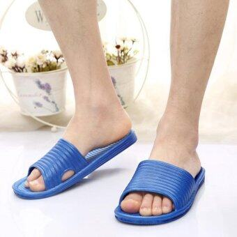 Man Stripe Flat Bath Slippers Summer Sandals Indoor Outdoor Slippers - intl
