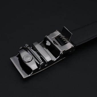เข็มขัดชายหนังแท้หรูสีดำเข็มขัดหนังยี่ห้อร้อนธุรกิจรถยนต์คาดเข็มขัดผู้ชาย