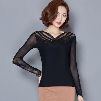 2559 ใหม่ของผู้หญิงแขนยาวเสื้อยืดคอวีลึกเจาะร่างผอมบาง gauze ร้อนสีดำ