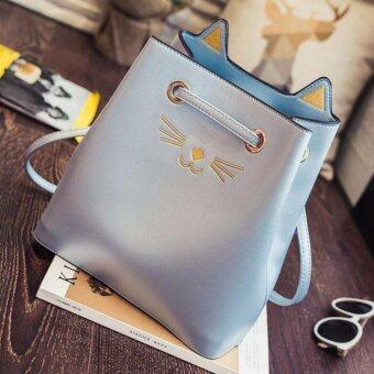 กระเป๋าสะพายไหล่ถักลายเเมวเเละหูเเมว รุ่น Cat Lovers -(Light Blue)