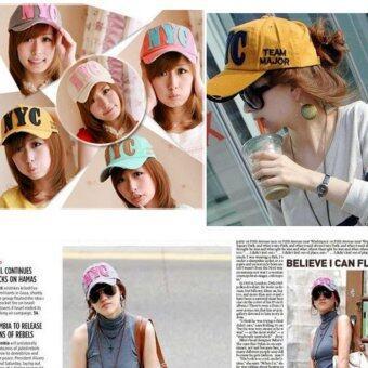 หมวกแก๊ปผู้หญิง-ชายสไคล์เกาหลี NYC รุ่น M91 สีฟ้า