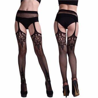 แฟชั่นสตรีสุดเซ็กซี่สีดำรัดต้นขาจนหน้าเข็มขัดรัดถุงน่อง และถุงน่องถุงเท้าสีดำ