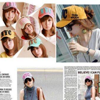 หมวกแก๊ปผู้หญิง-ชายสไคล์เกาหลี NYC รุ่น M91 สีส้ม