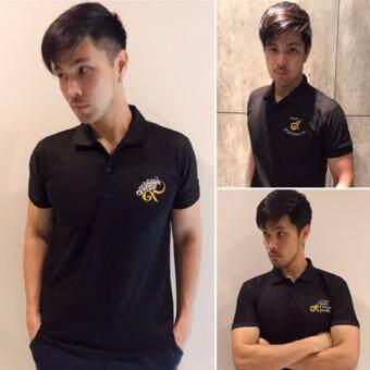 Nine One One POLO T-Shirt Black เสื้อโปโล สีดำ ปักด้วยด้าย สีทอง-ขาว ( 1แพ็ค - 3ลาย)