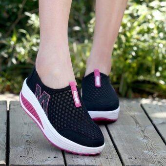 หญ้าคาใหม่รองเท้าลำลองผู้หญิงความสูงที่เพิ่มขึ้นชิงช้าชิ้นหายใจรองเท้าสีดำ