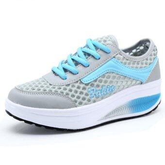 YINGLUNQISHI ผู้หญิง Fahion รองเท้ากีฬาสตรีเหล็กรองเท้าผ้าใบ J23 (สีน้ำเงิน)
