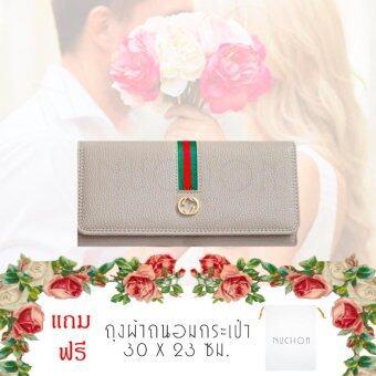 Nuchon Bag GuGhi/Blackกระเป๋าสตางค์ ใส่มือถือ GG Smart Wallet Iphone 6 Plus Size M/Grey แถมฟรี ถุงผ้าถนอมกระเป๋าสตางค์ รุ่น NCW-001-White
