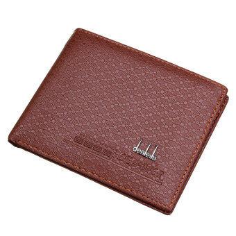 กระเป๋าสตางค์แฟชั่นผู้ชายที่เก็บบัตรหนัง Pu ใส่เหรียญพับครึ่งธนบัตรเงินสีเหลือง