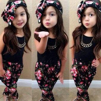 เด็กทารกหญิงชุดคาดโอ+สีดำเสื้อยืด+ดอกไม้เสื้อผ้าเด็กกางเกงชุด 100