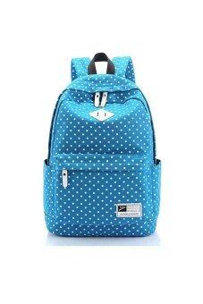 Women's Girls Polka Dots Pattern Soft Canvas Travel Backpack Rucksack School Bag Shoulders Bag Lake Blue