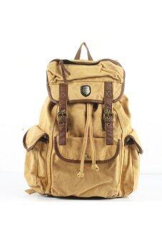 BUG Multi-function Unisex Men Women Leisure Canvas Backpack Rucksack School Bag Outdoor Travel Bag Khaki