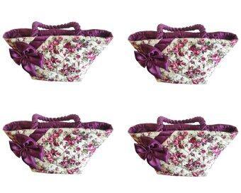กระเป๋าผ้าลายดอกไม้ มีโบว์คาด สีม่วง 4 ใบ