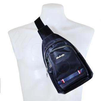 Nuchon Baiheda Canvas Shoulder Chest Hiking Bag กระเป๋าสะพายข้างสีกรมท่า/แดง