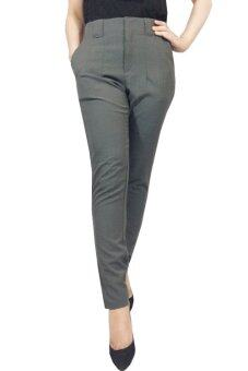 กางเกงขายาว ซิปหน้า ผ้าอยู่ทรง (สีเทา