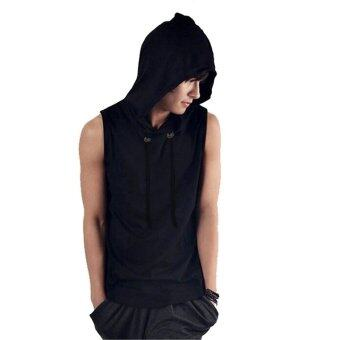 Yidabo Men Fashion ปล่อยแขนเสื้อแบบสวมเสื้อกล้าม hoodie ตัน Hoodies ลำลองเสื้อยืด (สีดำ)-ระหว่างประเทศ