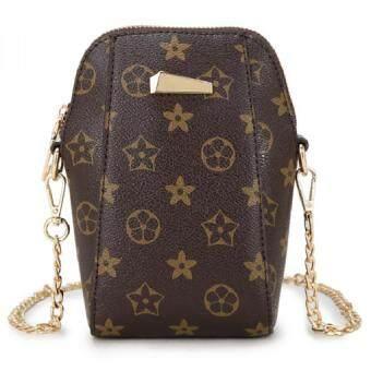Bag Fashion กระเป๋าทรงสูง กระเป๋าแฟชั่นสายโซ่ทอง(สีน้ำตาล)รุ่น017