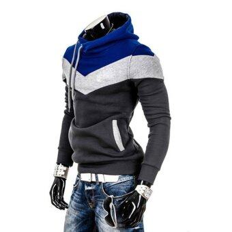 เสื้อกีฬาสีผสมเกาหลีบุรุษเสื้อฮู้ดเหงื่อเสื้อเหล็กสีเทา และฟ้าหลวงทรง-ระหว่างประเทศ