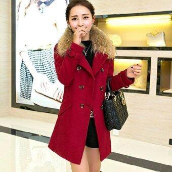 เสื้อโค้ทกันหนาวสีแดงผ้าวูล ทรงเข้ารูป พร้อมขนเฟอร์สีน้ำตาล (เฟอร์ถอดได้)
