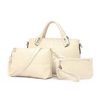 3ชิ้นกระเป๋าถือกระเป๋าสะพายไหล่หญิงสาวตายเงินส่งชุดหนังสีเบจ
