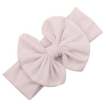 พวกเด็ก ๆ คาดผ้ารัดผมโบว์ผ้ายืดหัวตัดปมใหม่ขาว