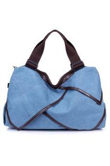 Trendy Women's Girls Large Capacity Canvas Handbag Tote Bag Cross-body Messenger Bag Shoulder Bag Travel Bag Blue