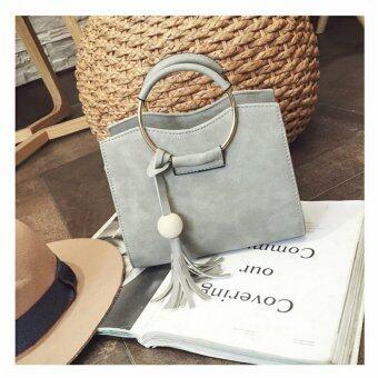Handbag Grey กระเป๋าถือ พร้อมสายสะพาย สีเทา