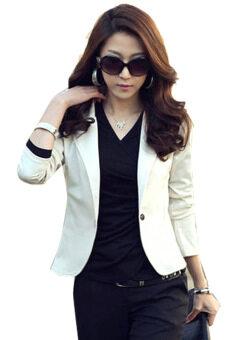 Sunwonder หญิงเฒ่าเสื้อนอกแขนเสื้อยาวคอสั้นในเสื้อสูทกระดุมเสื้อแจ็คเก็ต (ขาว)