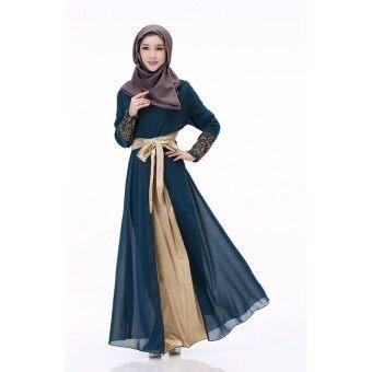 แขนเสื้อยาวของผู้หญิงมุสลิมประกบแมกซี่แต่งตัว (สีกรมท่า)