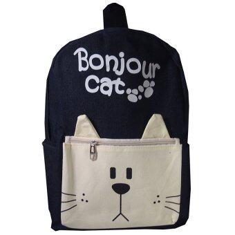 กระเป๋าเป้ลายแมว (สีดำ)