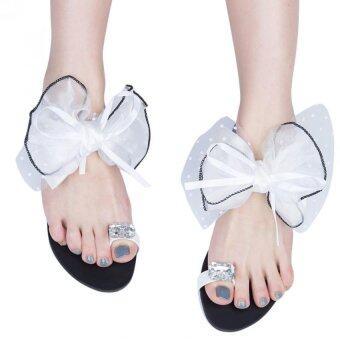 ซัมเมอร์บีชสตรีแหวนเพชรพลอยเทียม Flip Flops กระต่ายตาข่ายดอกไม้ (ขาว)