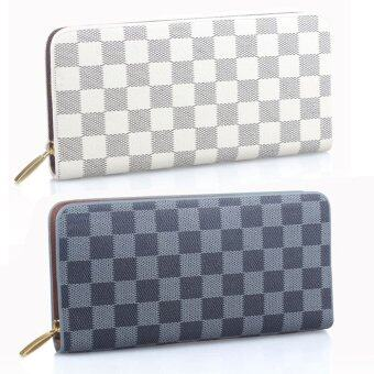 Nuchon Bag SET 2 Women Wallet กระเป๋าสตางค์ใส่มือถือ Iphone6Plus Size M รุ่น Damier-White/Black