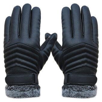 ป้องกันการหลุดคนหน้าจอสัมผัสความร้อนหนาวถุงมือหนังกีฬาสีดำ