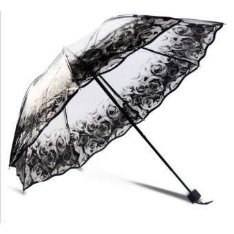 NUCHON ร่มใสพับ 2 ตอนกันฝน โครงไฟเบอร์กลาส ลายดอกกุหลาบ สีดำสดใส รุ่น N46/046 - BlackRose